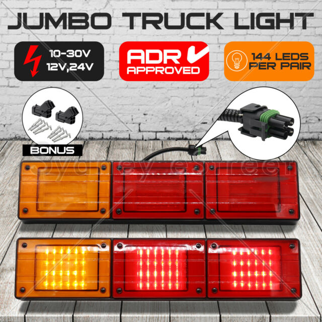 1 PAIR JUMBO 12V/24V 72 LED Trailer Tail Light Indicator Lamp For Caravan Truck