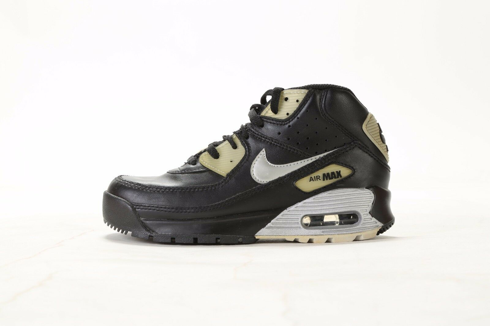VINTAGE 2007 NIKE AIR MAX 90 BOOT (PS) 317218-002 FEKETE / SILVER (msrp: $ 60)