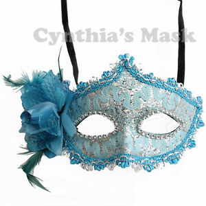 Turquoise-Floral-Mask-w-Rhinestones-and-Glitter-BZ627C-for-Party-amp-Display