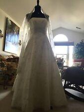 Ian Stuart Bridal Gown Wedding Dress w Shawl Swarovski Crystal Beaded Strapless