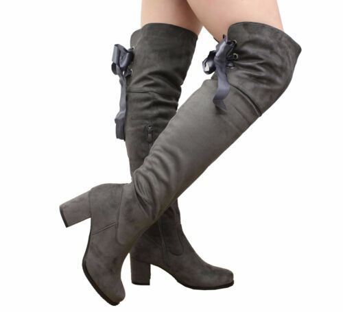 Ladies Womens Mid Block Heels Lace Up Over The Knee Boots Thigh High Shoes Size