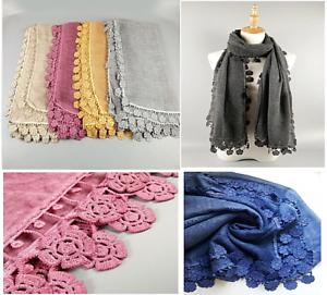 Ladies Women Shawl Scarf Hijab Wrap Gift Large Premium Cotton Embroidered Lace