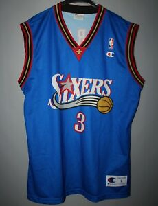 super słodki oficjalny sklep dobrze out x Details about PHILADELPHIA 76ERS NBA BASKETBALL SHIRT JERSEY #3 IVERSON  CHAMPION BLUE