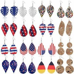 Women-Fashion-Leaf-Teardrop-Leather-Earrings-Drop-Dangle-Jewelry-Gift-Party-New
