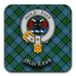 Tartan set Scottish Design MacLeod of Lewis Clan Crest Drink Coasters HD
