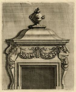Ornement-Architecture-Cheminee-Jean-Lepautre-Louis-XIV-gravure-originale-XVIIe