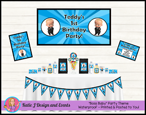 Details About Personalised Boss Baby 1st 2nd First Birthday Party Decorations Supplies Favours
