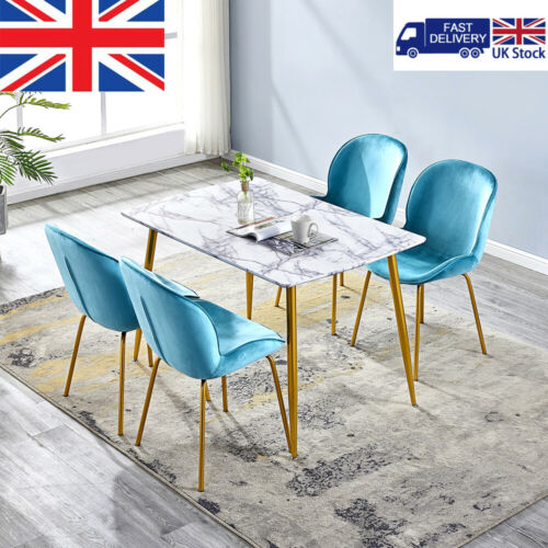 Modern Black Glass Dining Table and 4 Padded Chairs Set Home Kitchen Furniture