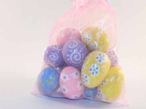 Bag Of 12 Pink Blue Yellow Purple Easter Eggs Decoration Ornament Spring Flower