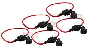Set-5x-12V-KFZ-Standard-Sicherungshalter-Halter-Sicherung-mit-Kabel-max-30A-PKW