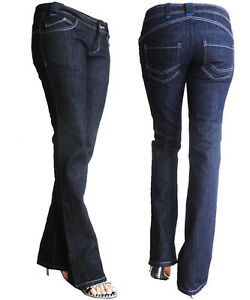 New Womens Mid Rise Boot Cut Jeans Ladies Stretch Denim Pants Trouser Size 6-12