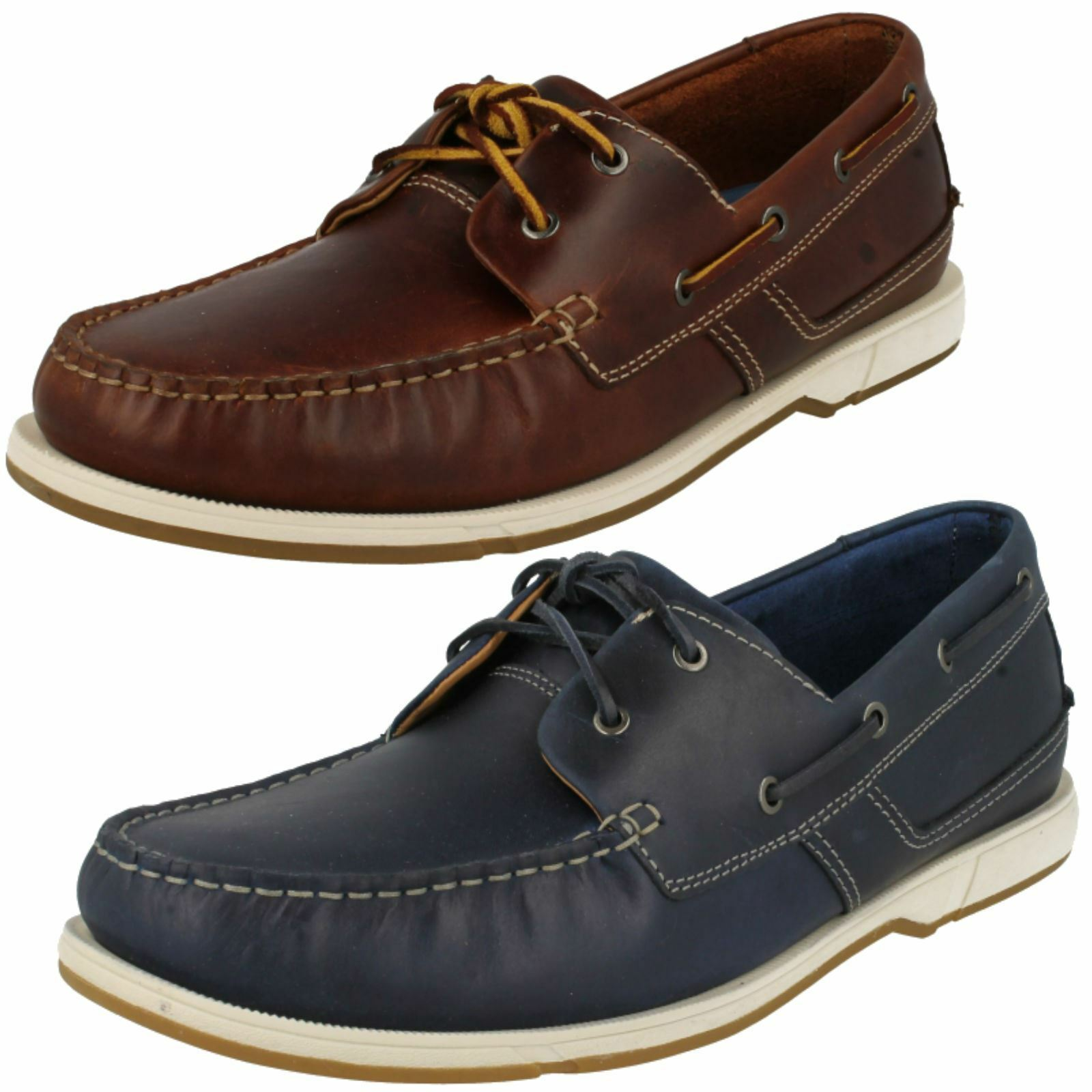 Mens Clarks Deck Style Smart Casual Lace Up Leather shoes Fulmen Row