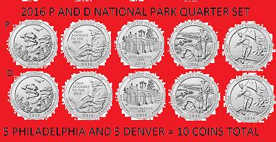 2016 America the Beautiful Quarter P /& D 10 Coin Set UNC