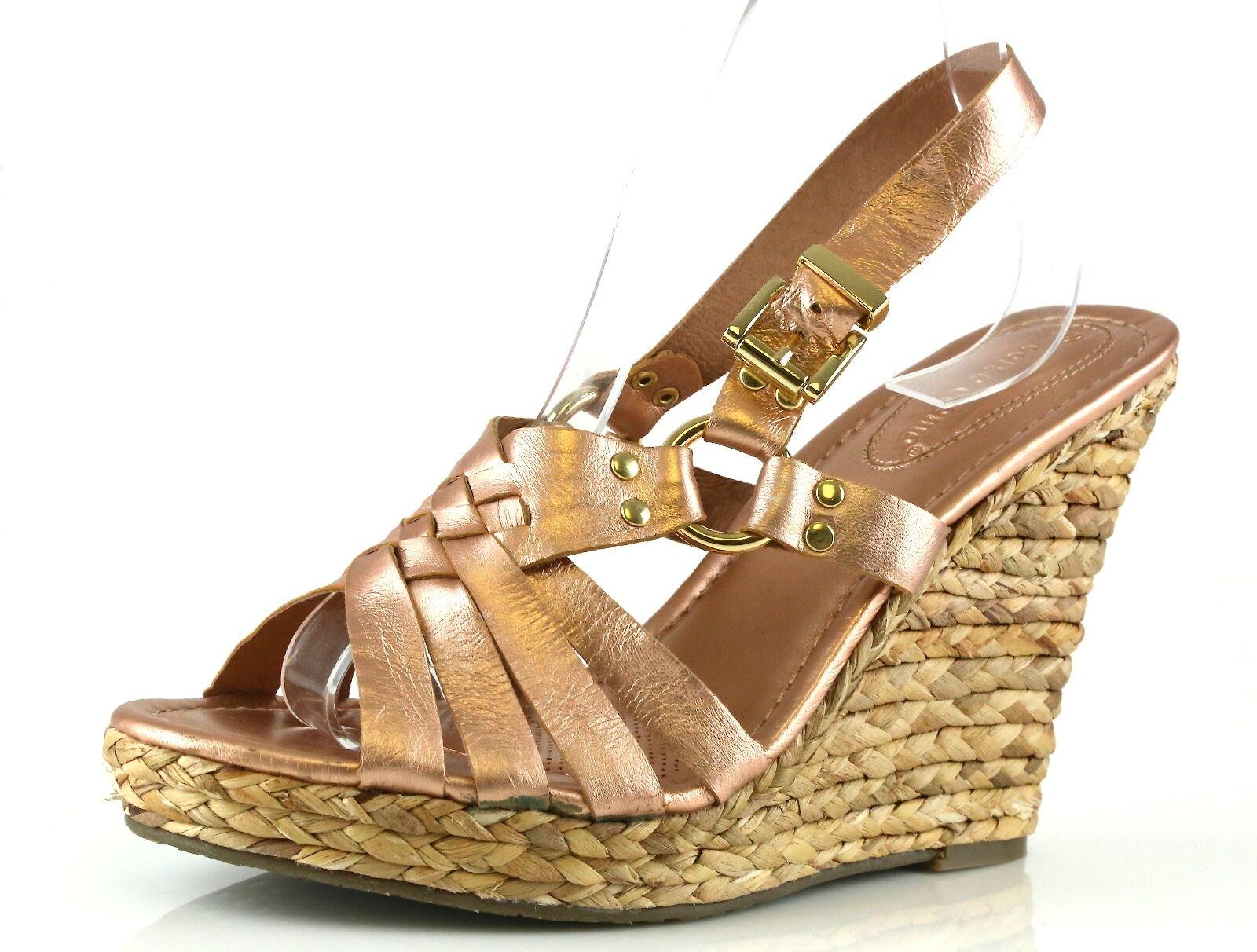 Corso Como DIVER Metallic Ankle Strap Wedge Sandals 7020 Size 10 M NEW