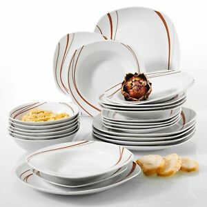 Complete 24pc Dinner Set Crockery Dinnerware Plates Bowls Dining Service for 6