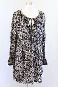 Free People Brown Geometric Print Raw Edge Hem Tie Tunic Dress Shift Size M Boho