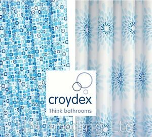 Croydex-Polyester-Textile-Shower-Curtain-Water-Splash-Geo-Mosaic-Metal-Eyelets