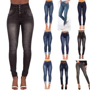 Para Mujer De La Alta Cintura Skinny Jeans Elastizados Ajustados De Gran Altura Pantalones Talla 6 16 Ebay