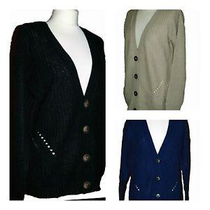 New-Primark-Women-Ladies-Long-Medium-knit-Cardigan-Blue-Black-Stone-Size-6-20