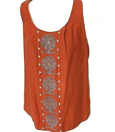 Lauren Moffatt ANTHROPOLOGIE Red Coral Silk/Linen