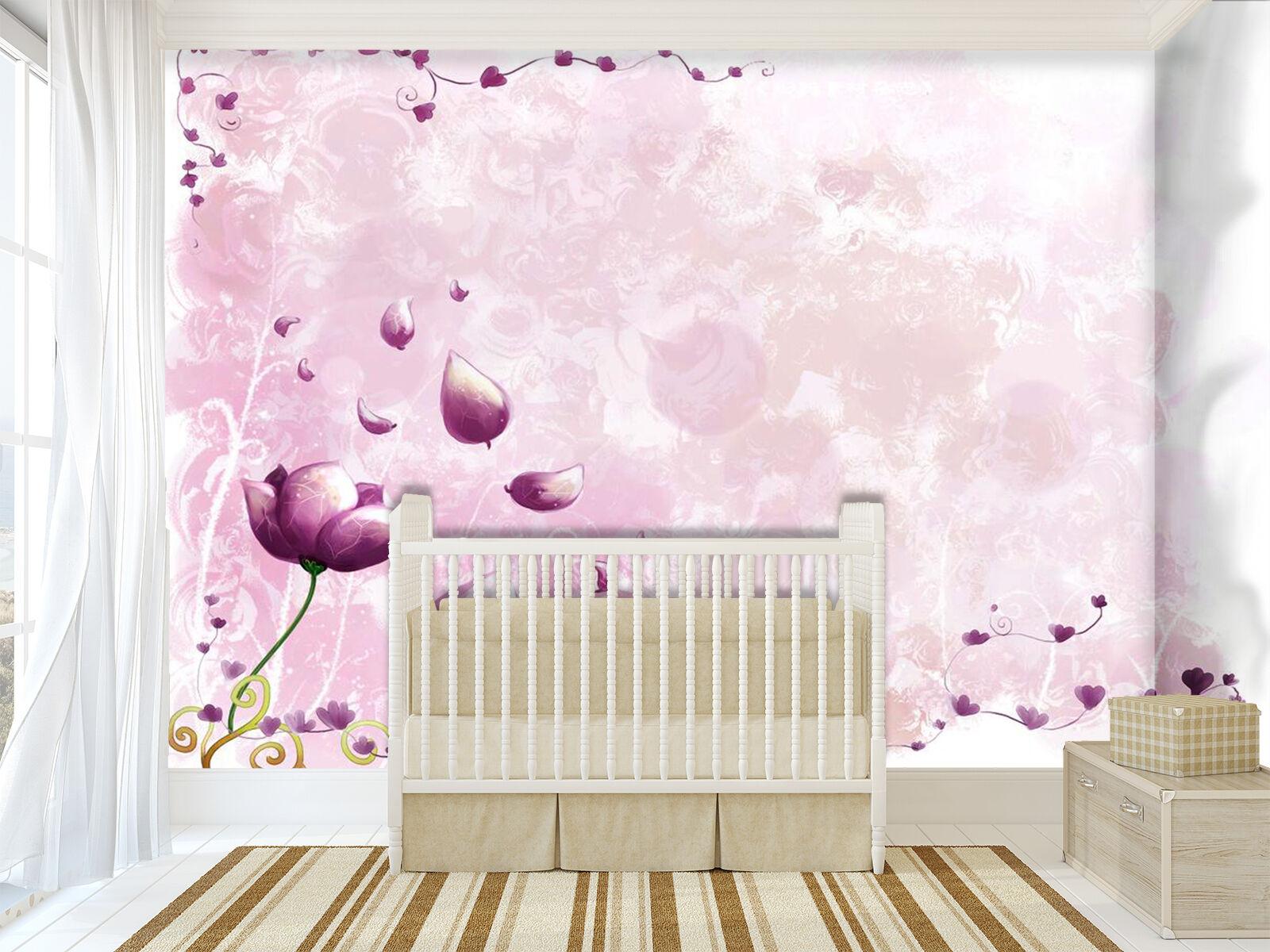 3D Purple petals 323 Wall Paper Print Wall Decal Deco Indoor Wall Murals