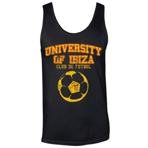 Neuf University of Ibiza Homme Débardeur Tank Top Football Vintage Sport Gris RRP £ 40