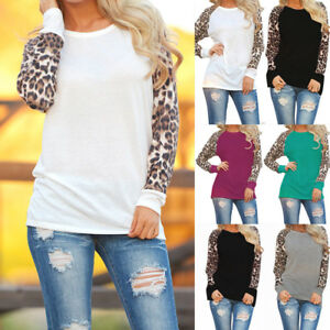 Plus-Size-Womens-Long-Sleeve-Leopard-T-Shirts-Ladies-Loose-Casual-Tops-Blouse-UK