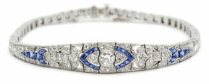 14K-White-Gold-Over-Diamond-And-Sapphire-Studded-5-05CT-Art-Deco-Bracelet