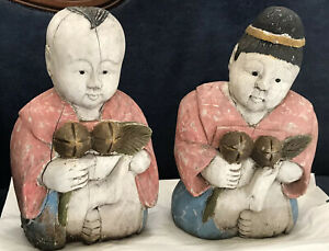 Antique-Or-Vintage-Asian-Figures-Possibly-Chalkware