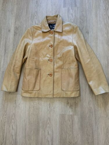 Caramel Tan Leather Coat 1990's VINTAGE
