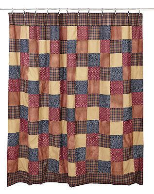primitive country farmhouse grey /&red Abilene Star pattern fabric SHOWER curtain