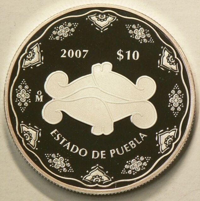 2007 Mexico 10 Pesos Estado de Puebla Fine Silver #10296