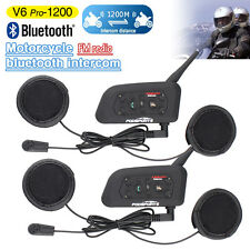 2x Bluetooth Auricolari Moto Casco Interfono BT Intercom Cuffie 6motociclisti