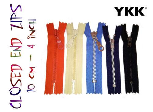 YKK 10cm 4inch closed end chunky metal teeth woven zip zipper 5 colours
