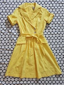 Liz-Claiborne-Women-039-s-Yellow-Dress-Retro-Faux-Wrap-Fit-Waist-V-neck