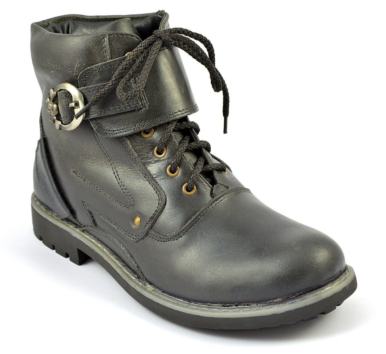PARADISE LIFESTYLE Hombre ANKLE botas Negro RUBBER SOLE LEATHER LEATHER LEATHER BIKER Zapatos Talla 3ab522