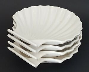 Oyster Seashell Shaped Plate Bowl White Made in Japan Set of Four Ceramic