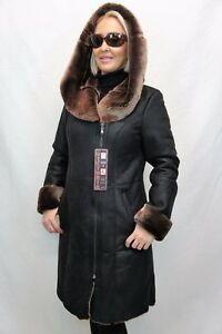 NEW-REAL-100-GENUINE-SHEEPSKIN-Shearling-Leather-Black-long-Coat-Hood-XS-6XL