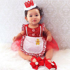 Christmas Clothes Baby Girl Flower Romper Party Pageant Princess Dresses 10-12 m