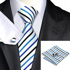 Men's White And Blue Black Stripes Tie+Hanky & Cuflinks Matching Set 237