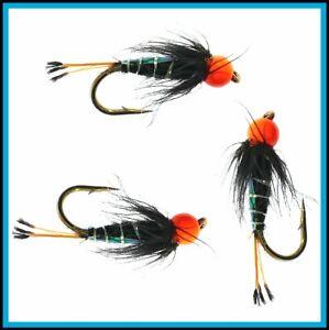 Trout Fly Fishing Flies Epoxy Buzzer Flies for Fly Fishing GLOW TAIL #12 Flies