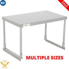 Single Deck Overshelf Stainless Steel Work Prep Table Commercial Multiple Sizes