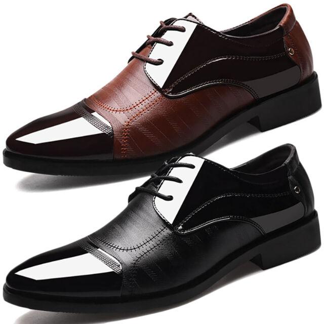 Herren Business Schuhe Lackschuhe Hochzeit Schnür Halbschuhe Lederschuhe Anzug