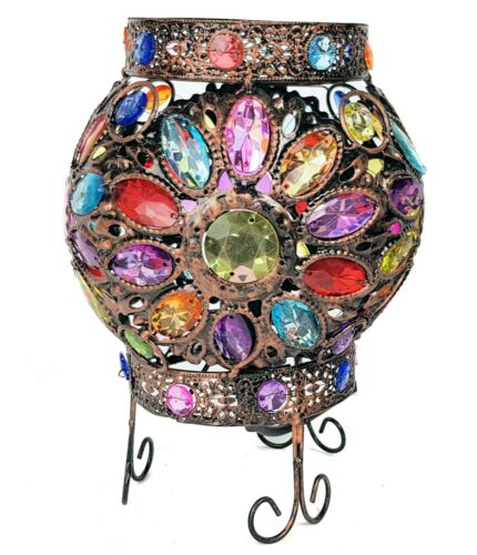 Table Lamp Stunning Moroccan Style Jewelled Cutwork Flower Brand New Ball Multi