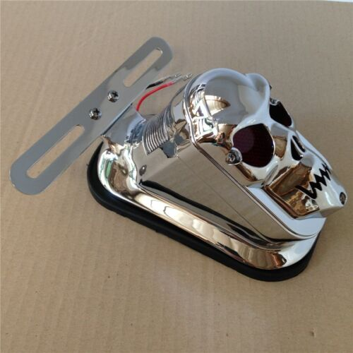Motorcycle Chrome Red Skull Brake Tail Light Signal For Harley Bike Dyna Softail