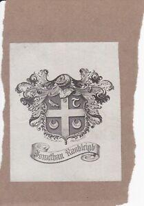 N23-Ex-Libris-Armorial-Bookplate-JONATHAN-RUSHLEIGH-Daphne-De-Maurier-interest