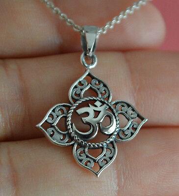 925 Sterling Silver Lotus Flower Ohm Charm Necklace - Yoga Om Namaste Necklace