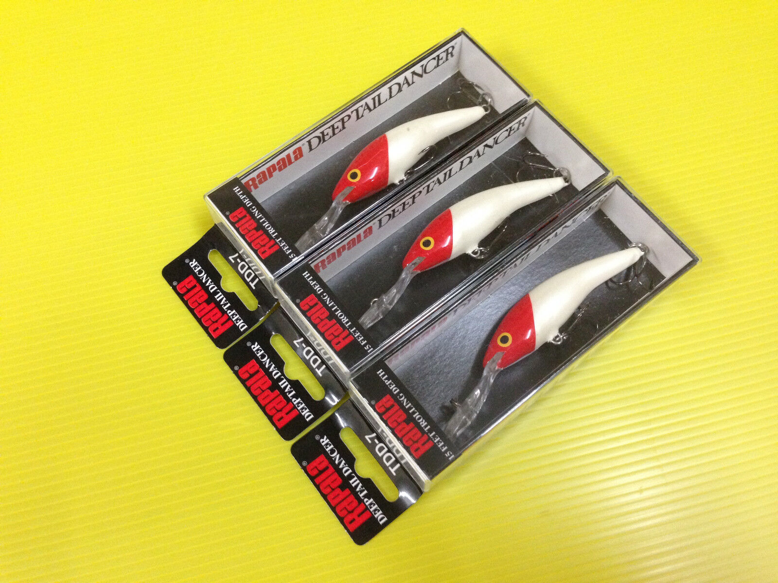 Three Rapala Deep Tail Dancer TDD-7 RH, Red Head color Rattling Lures.