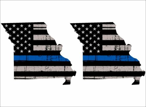Reflective Tattered Flag Police Support Decals PAIR Thin Blue Line Missouri