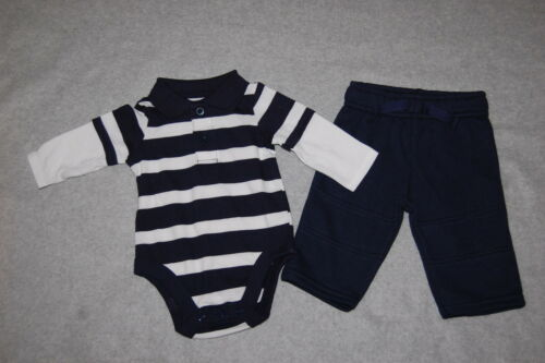 Baby Boys NAVY BLUE WHITE STRIPE L//S POLO SHIRT Layered NAVY KNIT PANTS 0-3 MO